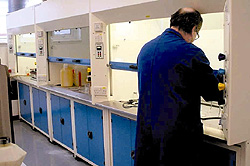 Chemical analysis in fume cupboards