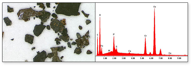Oxidised Steel Particles from Tank and EDX Chemical Analysis
