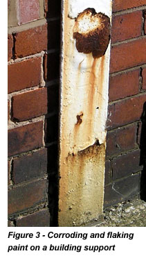 Corroding and flaking paint on a building support