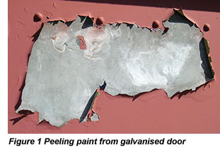 Peeling paint from galvanised door