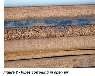 Pipes corroding in open air
